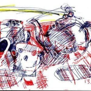 Still life with teapot & mugs. Biro and crayon on paper.