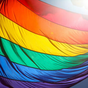 Photograph of a rainbow flag, the sun shining behind it.