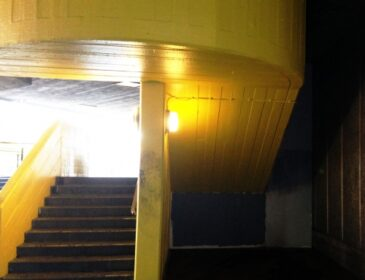 A photograph of a stairwell at Southbank Centre, starkly lit.