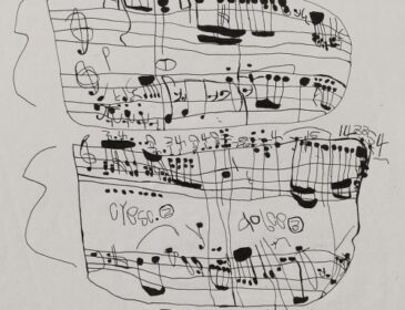 A hand-drawn music score by Japanese artist, Koji Nishioka