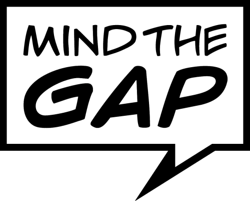 Mind the Gap logo with the words inside a speech bubble