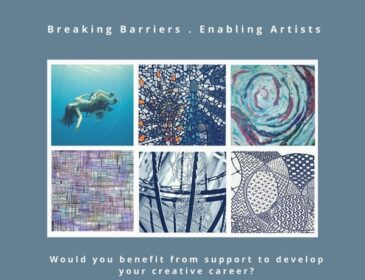 A flyer for Art Bridge II: Breaking Barriers, Enabling Artists featuring thumbnail images including one of Sue Austin