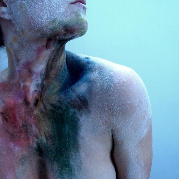 Blue by Liz Atkin a photograph of a woman's body covered in paint.