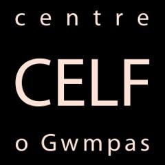 Centre Celf Logo, light text on a black backgroun