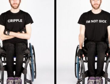 Two side-by-side photographs of artist Daniel Savage, he is using a wheelchair in both. In one his t-shirt reads 'Cripple', in the other it reads 'I'm not sick'.