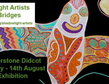 Shadowlight Artists, Creative Bridges web flyer featuring a colourful birdlike creature