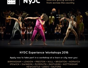 Production shot from NYDC Premiere 'In-Nocentes' with text regarding Experience Workshops