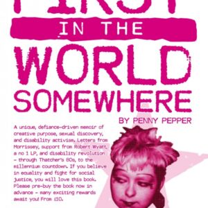 In pink punky lettering on a white background the text details Penny's memoir. A picture of young Penny with short punky hair and make up is placed over a faded pink star.