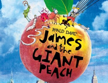 A giant flying peach with insects and a little boy, James, stood on top.