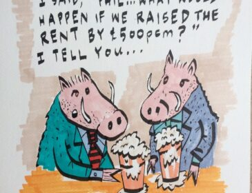 A cartoon in felt tip pen of two boars in suits drinking pints of beer