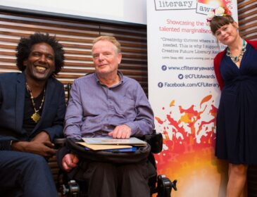 photo of poet Lemn Sissay with Creative Futures Award winner and Dominique Delight