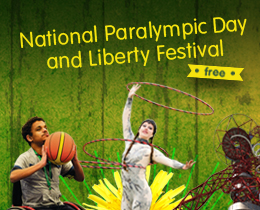 Advert for Liberty festival featuring a woman doing hula hoops and a wheelchair user with a basketball