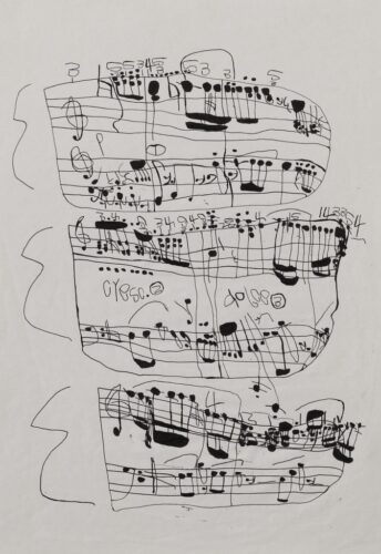 Koji Nishioka's drawing Untitled (Musical Score 16), a black and white music score in a doodly style