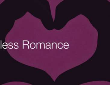 Promotional image for senseless romance featuring silhoutted pair of hands making a heart shape against a purple background