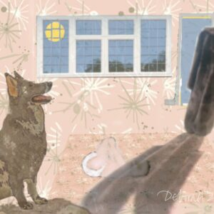 Digital artwork by Deborah Caulfield depicts a dog looking at a ghostly figure of a fur coat