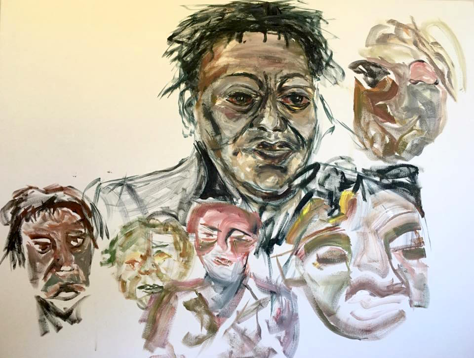 series of sketches of the face of John Akomfrah showing the technique of the artist Tanya Raabe in building up brush strokes on the canvas