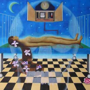 Yvonne Mabs Francis surrealist painting The Electric Bed featuring a naked female figure lying on a bed hooked up to a clock with a ghostly skull overlaid on the foreground