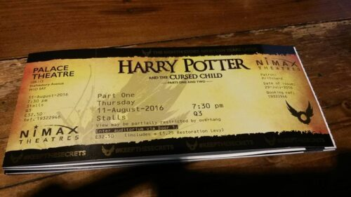 Photo of the tickets for 'Harry Potter and the Cursed Child'