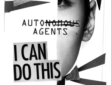 Auto Agents, 2016, Black and white photograph of a woman's face and geometric shapes