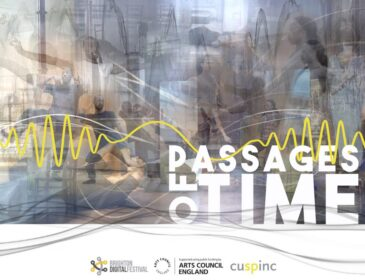 Flyer for passages of time featuring text set against a hazy background of multiple layers