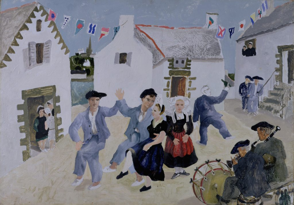 Lively painting of a group of sailors dancing on a village street