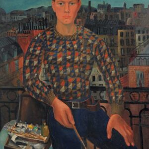 Self-portrait by Christopher Wood with paintbrush in hand and a small table with a set of oil paints