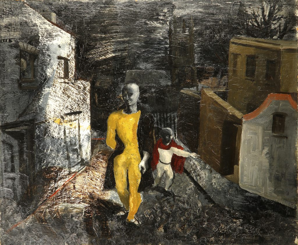 painting of a man dressed in yellow walking down a starkly-lit street