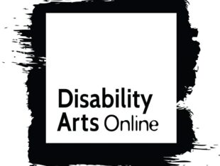 Disability Arts Online's logo featuring a white square inside a black paint splash and black text