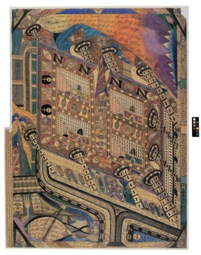 stylised, geometric painting of the asylum