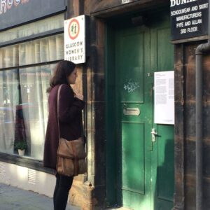 A woman experiencing Bekki Perriman's The Doorways Project