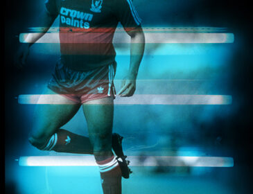 Light box by Donald Rodney featuring footballer John Barnes