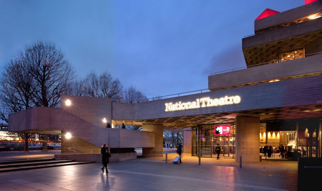 Photo of the outside of the National Theatre in twilight