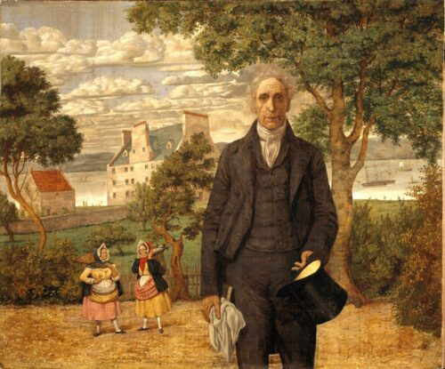 Richard Dadd's portrait of Sir Alexander Morison showing him stood against a pastoral scene