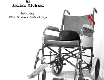 Flyer for the Jockey showing an empty wheelchair with a hat on it