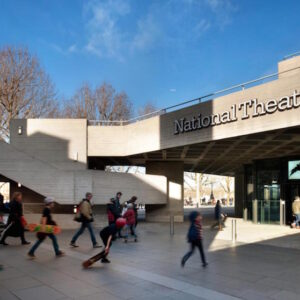 Photo of the concrete facade outside the national theatre in London