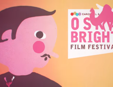 Promotional film still from Oska Bright 2015 featuring a cartoon man and a flying camel