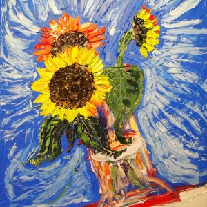 Oil painting of a sunflower