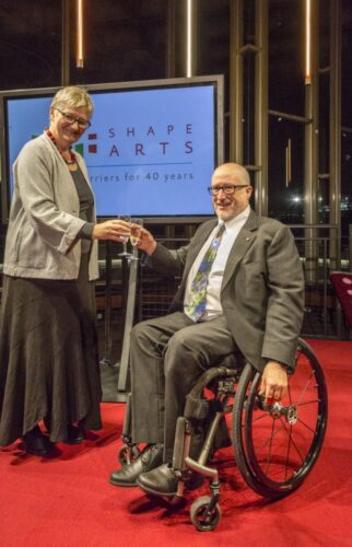 Heaton with Pauline Tambling CBE, Chair of Shape. Photograph: Andy Barker