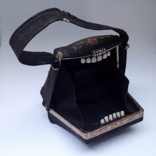 Jane McCormick assemblage: biting purse