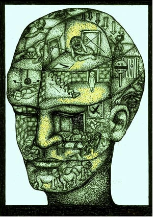 Image of a head with several rooms in which tortuous acts are visualised as a metaphor for everything we're not allowed to say about our oppression by the powers that be