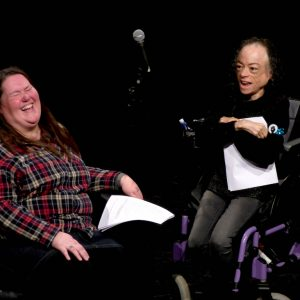 Photo of Charlotte Cooper and Liz Car sharing a joke