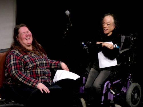 Photo of Charlotte Cooper and Liz Car sharing a joke