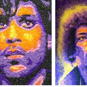 Mosaic portrait of Jimi Hendrix and Prince