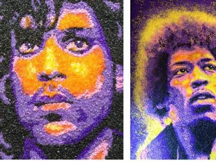 Mosaic portrait of Jimi Hendrix and Prince