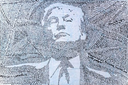 Drawing of US president Trump made up of heinous statements made by the politician