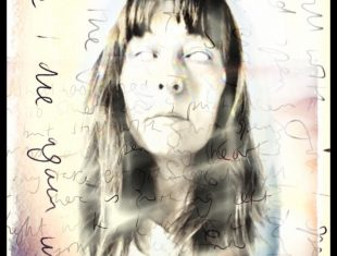 Portrait of the artist made with superimposed text