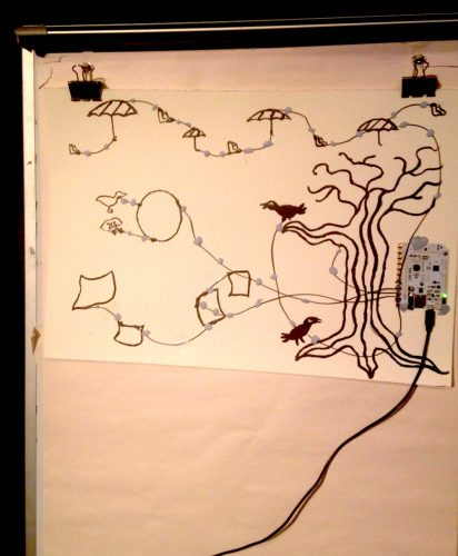 photo of a clip board with a series of lines deonting a tree and birds, running across a sheet attached to an electrical socket