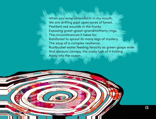 The swirling, bright river forms a whirlpool, its circular movements reminiscent of tree trunk rings.