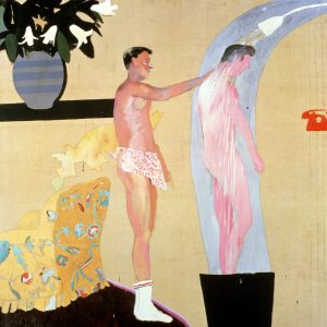 Painting in light, bright yellows and pinks of two men washing each other in a shower