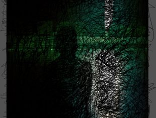 a dark human silhouette in front of a dark green background